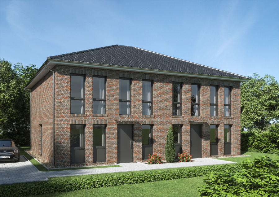 Sallier Immobilien Projekt Adendorf Ansicht Eingang mit Parkplatz